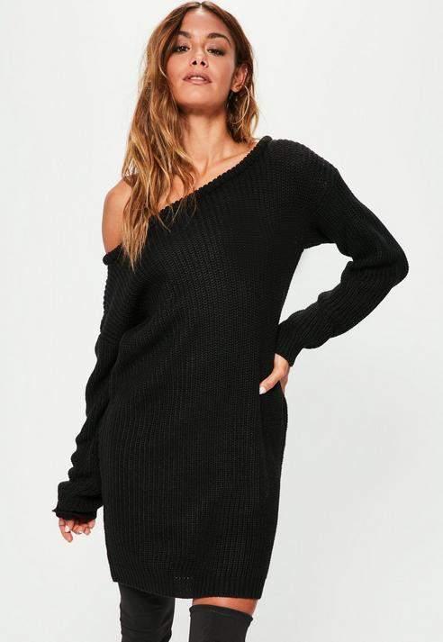 Black Off Shoulder Knit Sweater Dress