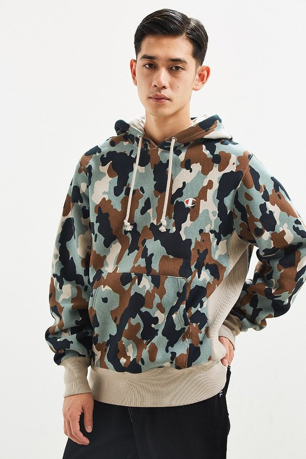 Champion & Urban Outfitters Camo Reverse Weave Hoodie Sweatshirt