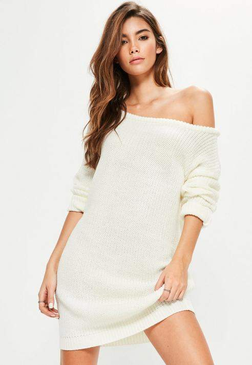 Cream Off Shoulder Knit Sweater Dress