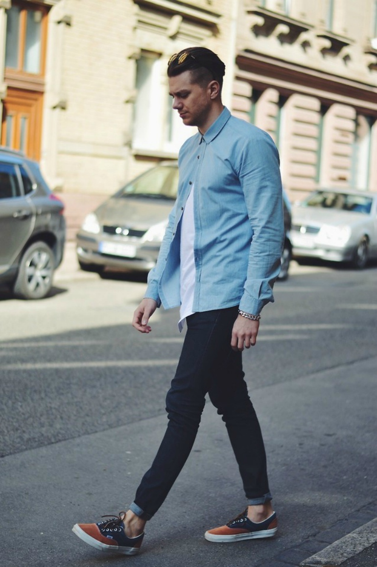 Denim-Shirt-Black-Jeans-Mens-Street-Style