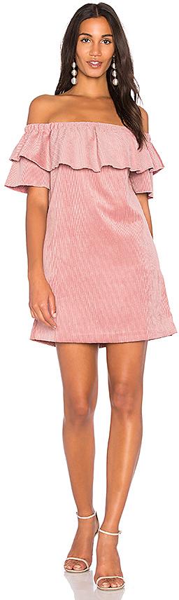 Endless Rose Ribbed Velvet Off Shoulder Dress