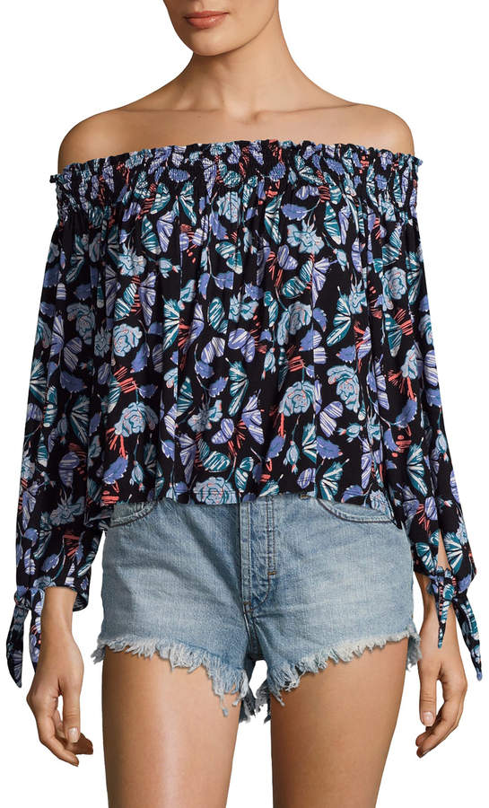 Free People Women's Printed Lexington Off Shoulder Top