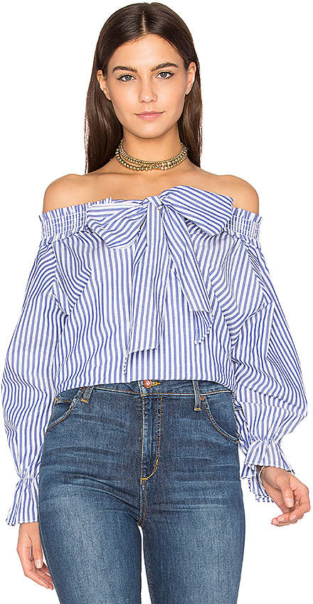J.O.A. Off Shoulder Stripe Top