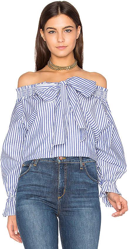 J.O.A. Off Shoulder Stripe Top