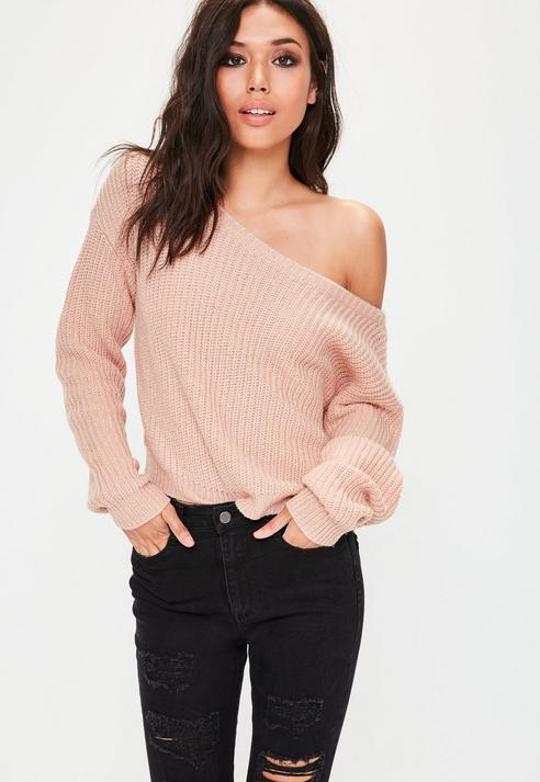 Nude Off Shoulder Cropped Knit Sweater
