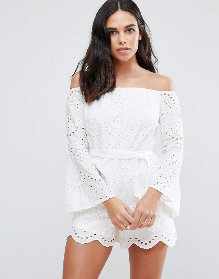 Parisian Broderie Off Shoulder Romper