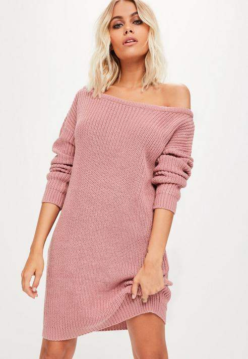 Pink Off Shoulder Sweater Dress