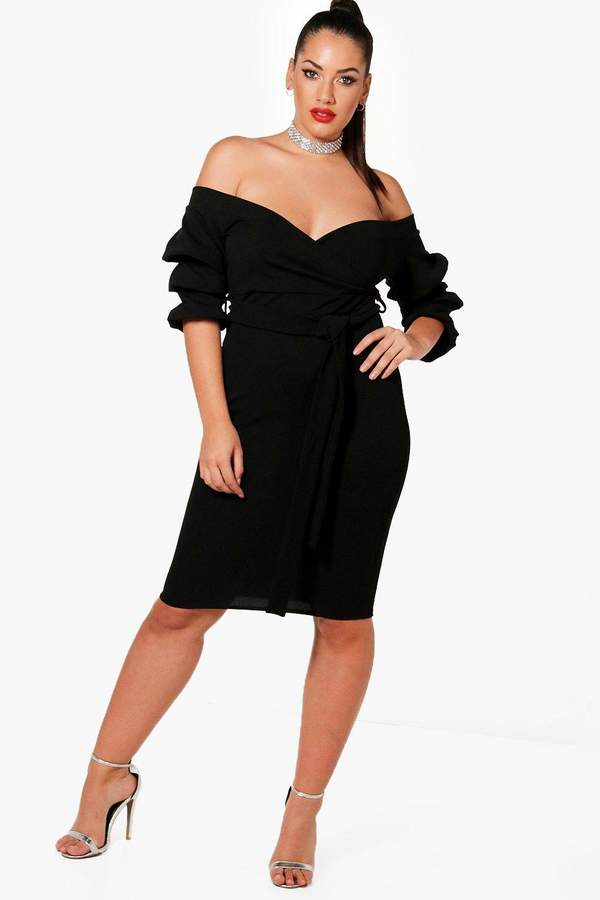 boohoo Plus Darcy Off Shoulder Rouched Dress