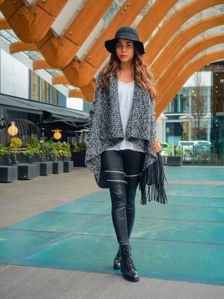 fd05212732 V-Neck Shirt + Grey Cardigan + Black Leggings