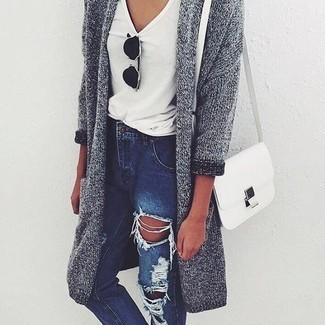7c693e5d21 How To Wear a Grey Open Cardigan With a White V-neck T-shirt