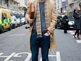 How To Wear a Camel Overcoat With a Grey Crew-neck T-shirt