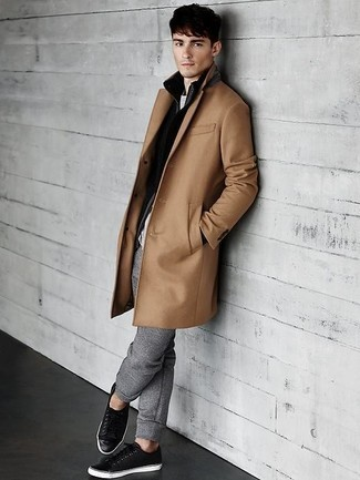 How To Wear a Camel Overcoat With a Grey Crew-neck T-shirt 2