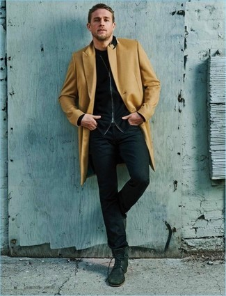 How To Wear a Camel Overcoat With a Black Crew-neck T-shirt 3