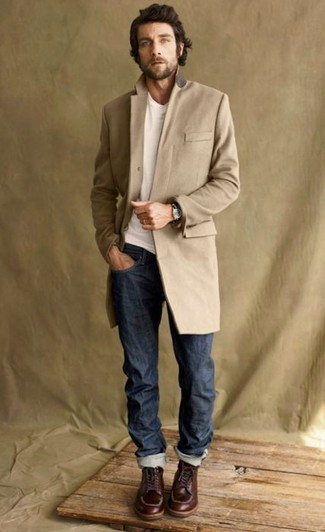 How To Wear a Camel Overcoat With a White Crew-neck T-shirt